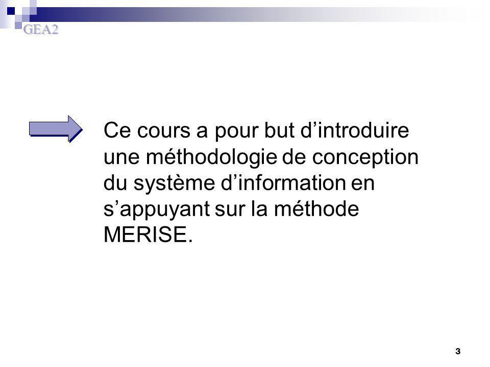 GEA2 3 Ce cours a pour but d'introduire une méthodologie de conception du système d'information en s'appuyant sur la méthode MERISE.