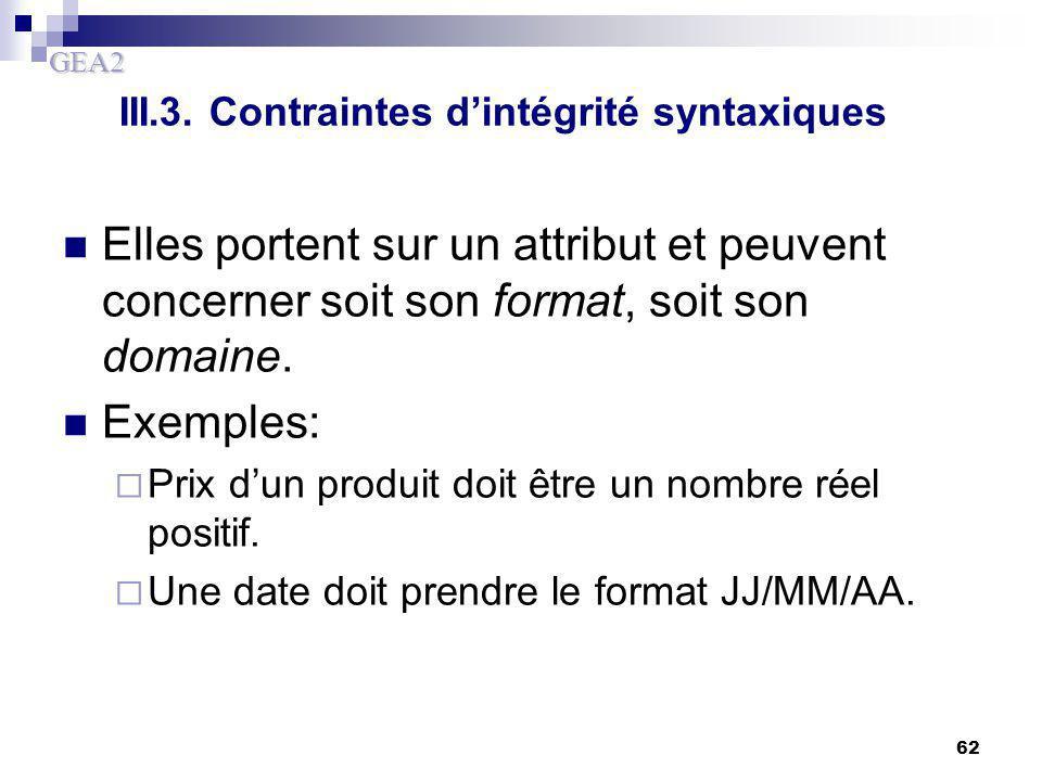 GEA2 62 III.3. Contraintes d'intégrité syntaxiques Elles portent sur un attribut et peuvent concerner soit son format, soit son domaine. Exemples:  P