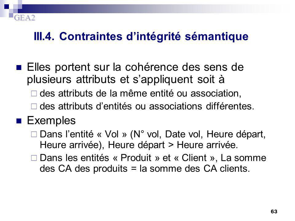 GEA2 63 III.4. Contraintes d'intégrité sémantique Elles portent sur la cohérence des sens de plusieurs attributs et s'appliquent soit à  des attribut