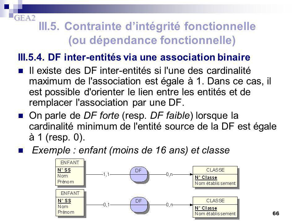 GEA2 66 III.5. Contrainte d'intégrité fonctionnelle (ou dépendance fonctionnelle) III.5.4. DF inter-entités via une association binaire Il existe des