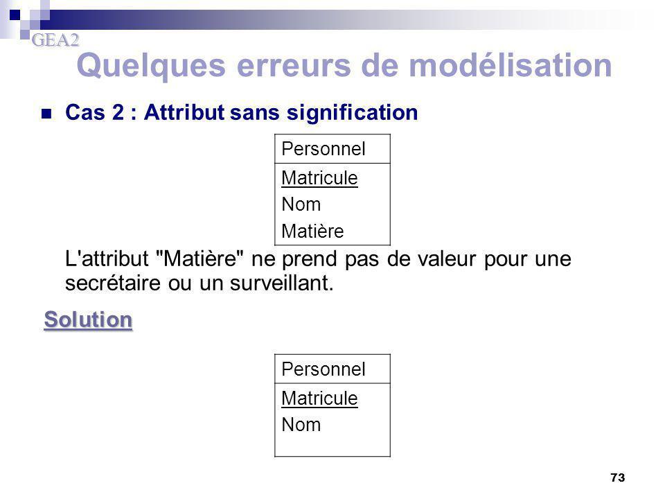 GEA2 73 Quelques erreurs de modélisation Cas 2 : Attribut sans signification L'attribut