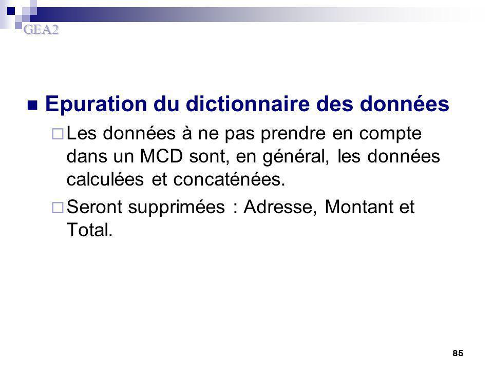 GEA2 85 Epuration du dictionnaire des données  Les données à ne pas prendre en compte dans un MCD sont, en général, les données calculées et concatén