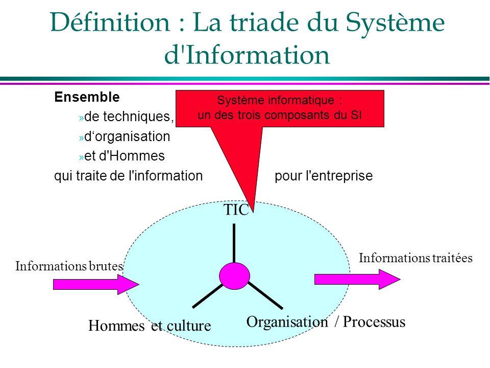 Définition : La triade du Système d'Information TIC Organisation / Processus Hommes et culture Informations brutes Informations traitées Ensemble » de