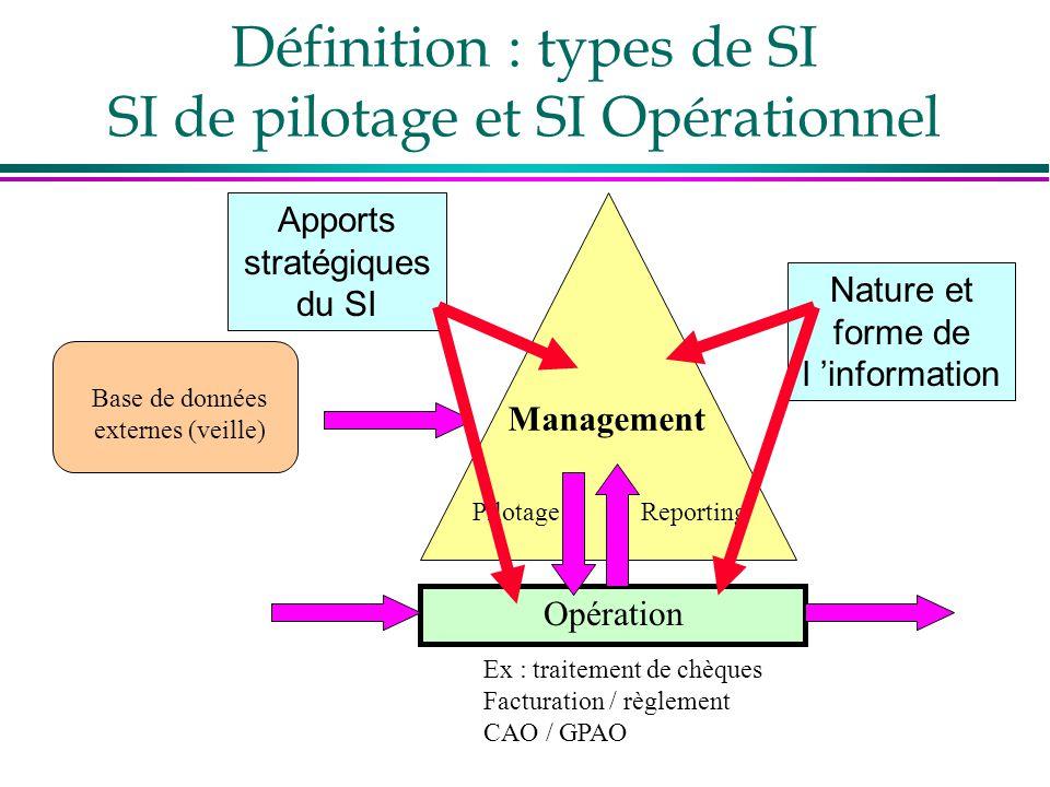 Base de données externes (veille) Définition : types de SI SI de pilotage et SI Opérationnel Opération Ex : traitement de chèques Facturation / règlem
