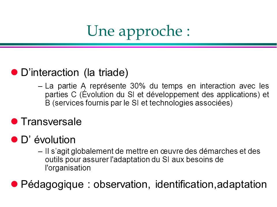 Une approche : lD'interaction (la triade) –La partie A représente 30% du temps en interaction avec les parties C (Évolution du SI et développement des