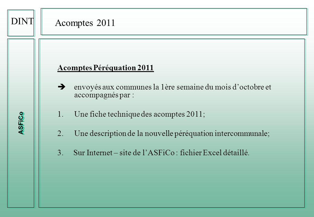 ASFiCo Réforme de la Péréquation 2011 : « quelques chiffres » DINT 532'144'400.- 30'847'654.- 72.6%