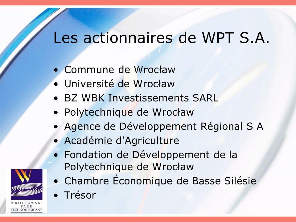 Les actionnaires de WPT S.A. Commune de Wrocław Université de Wrocław BZ WBK Investissements SARL Polytechnique de Wrocław Agence de Développement Rég