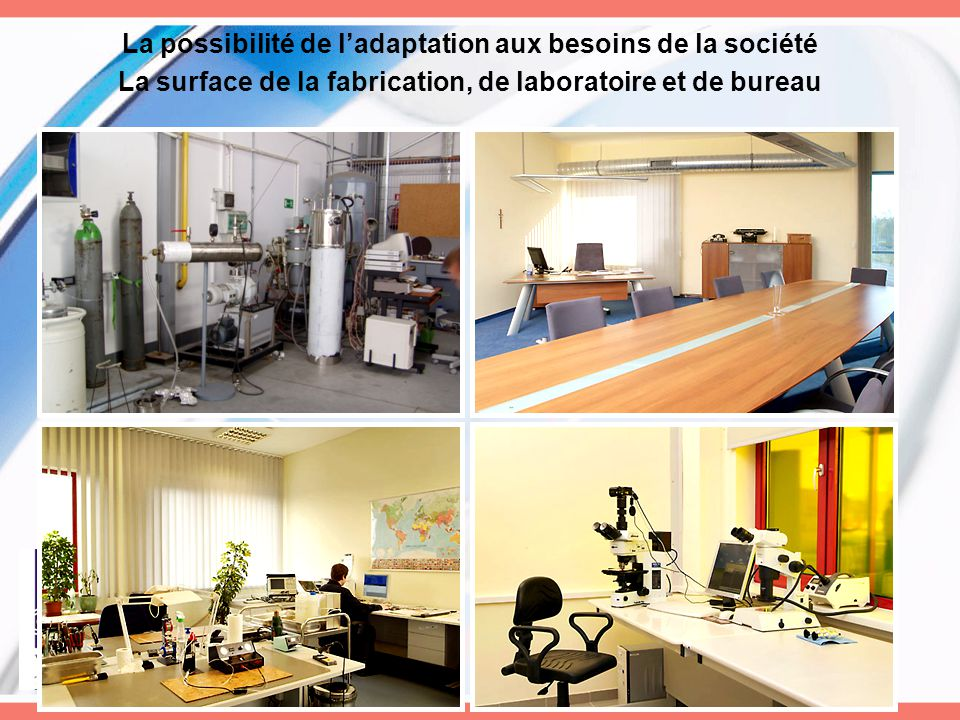 La possibilité de l'adaptation aux besoins de la société La surface de la fabrication, de laboratoire et de bureau