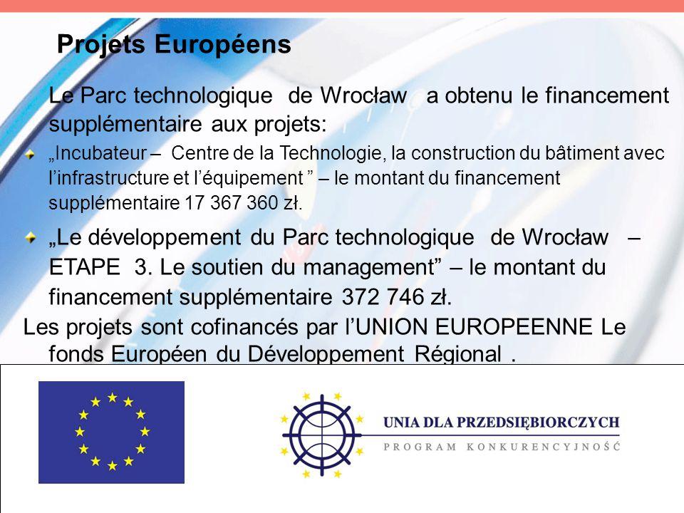 """Projets Européens Le Parc technologique de Wrocław a obtenu le financement supplémentaire aux projets: """"Incubateur – Centre de la Technologie, la cons"""