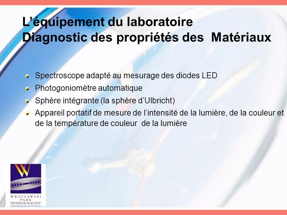L'équipement du laboratoire Diagnostic des propriétés des Matériaux Spectroscope adapté au mesurage des diodes LED Photogoniomètre automatique Sphère