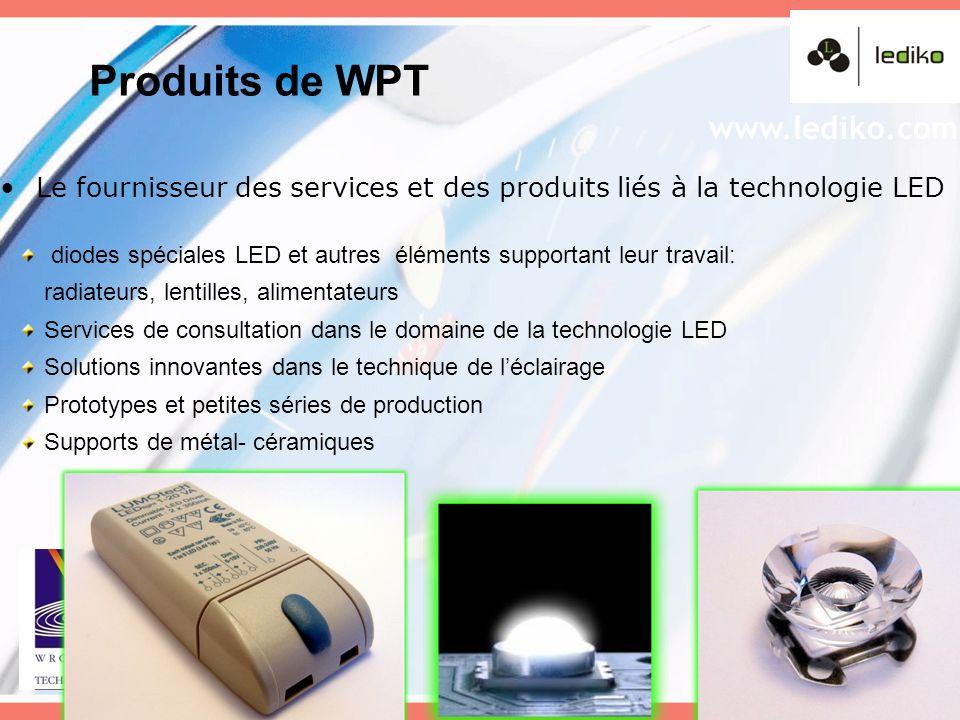 Le fournisseur des services et des produits liés à la technologie LED diodes spéciales LED et autres éléments supportant leur travail: radiateurs, len