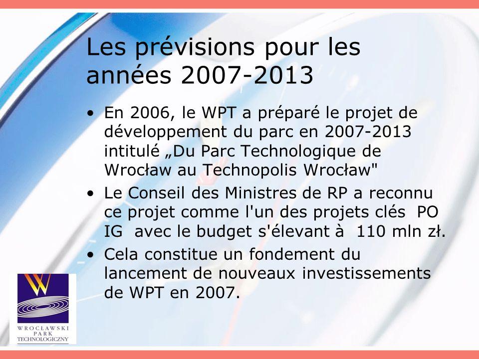 """Les prévisions pour les années 2007-2013 En 2006, le WPT a préparé le projet de développement du parc en 2007-2013 intitulé """"Du Parc Technologique de"""