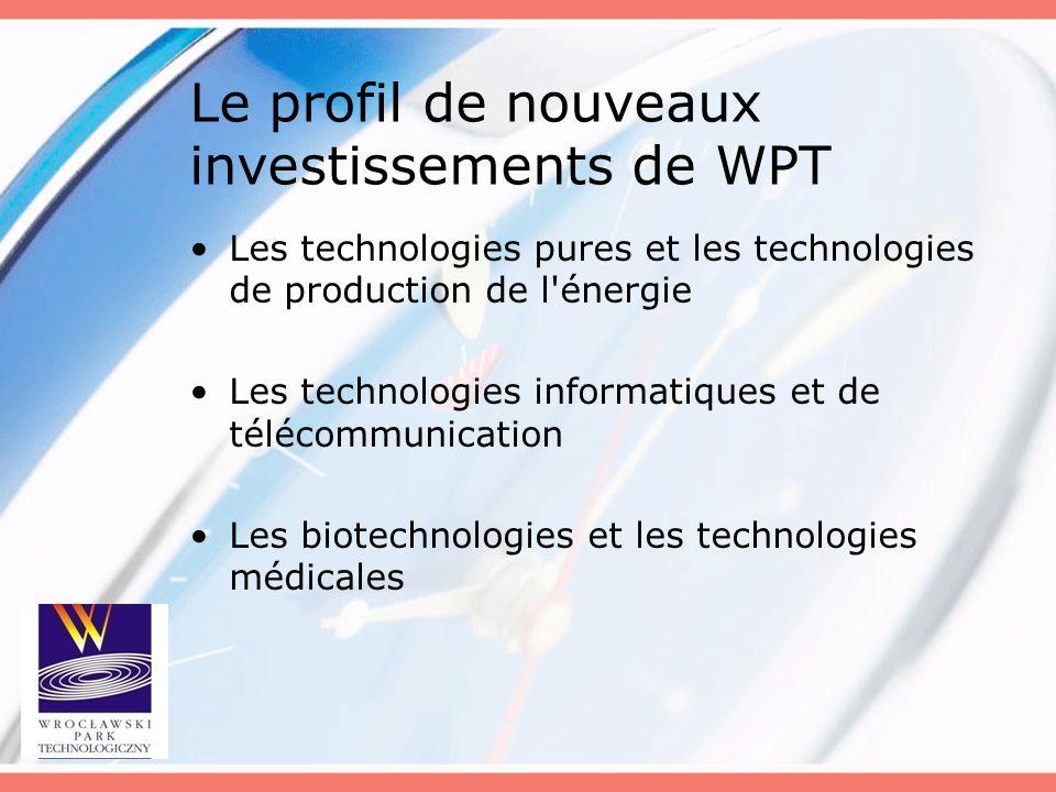 Le profil de nouveaux investissements de WPT Les technologies pures et les technologies de production de l'énergie Les technologies informatiques et d