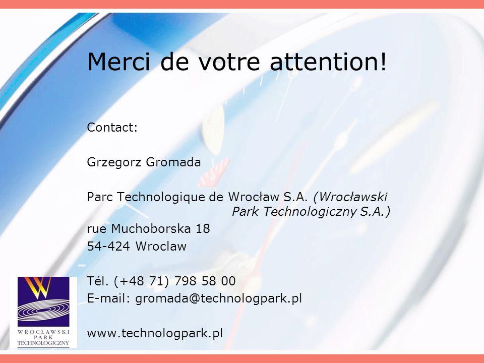 Merci de votre attention! Contact: Grzegorz Gromada Parc Technologique de Wrocław S.A. (Wrocławski Park Technologiczny S.A.) rue Muchoborska 18 54-424