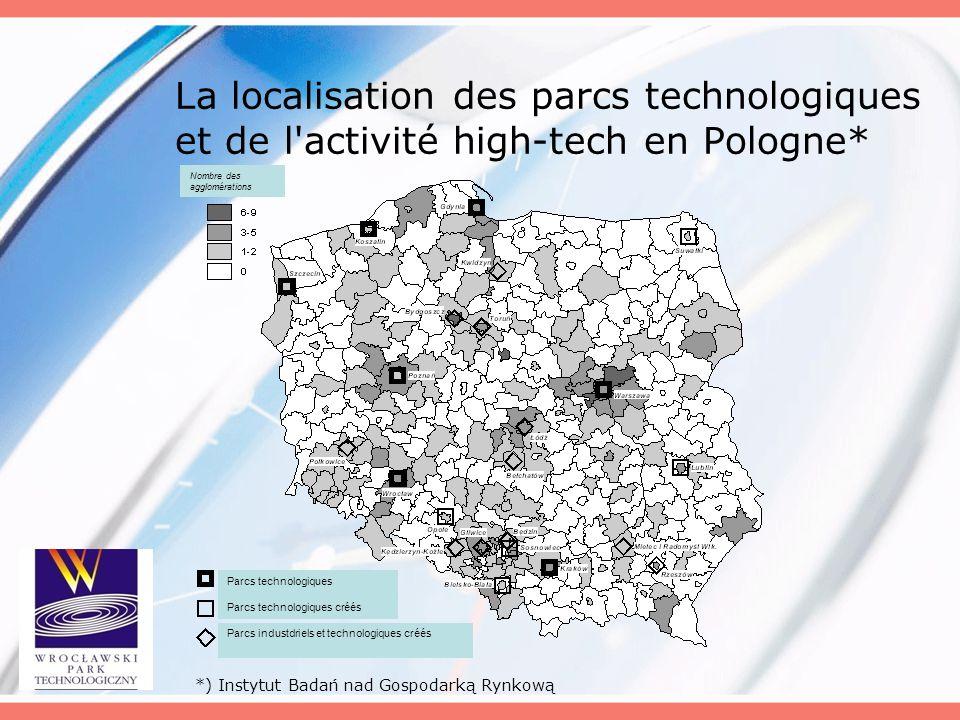 La localisation des parcs technologiques et de l'activité high-tech en Pologne* *) Instytut Badań nad Gospodarką Rynkową Nombre des agglomérations Par