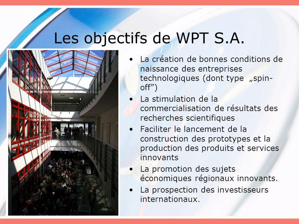 """Les objectifs de WPT S.A. La création de bonnes conditions de naissance des entreprises technologiques (dont type """"spin- off"""") La stimulation de la co"""