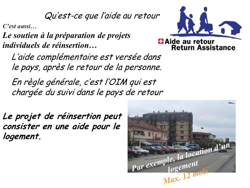 Qu'est-ce que l'aide au retour C'est aussi… Le soutien à la préparation de projets individuels de réinsertion… Le projet de réinsertion peut consister en une aide pour le logement.