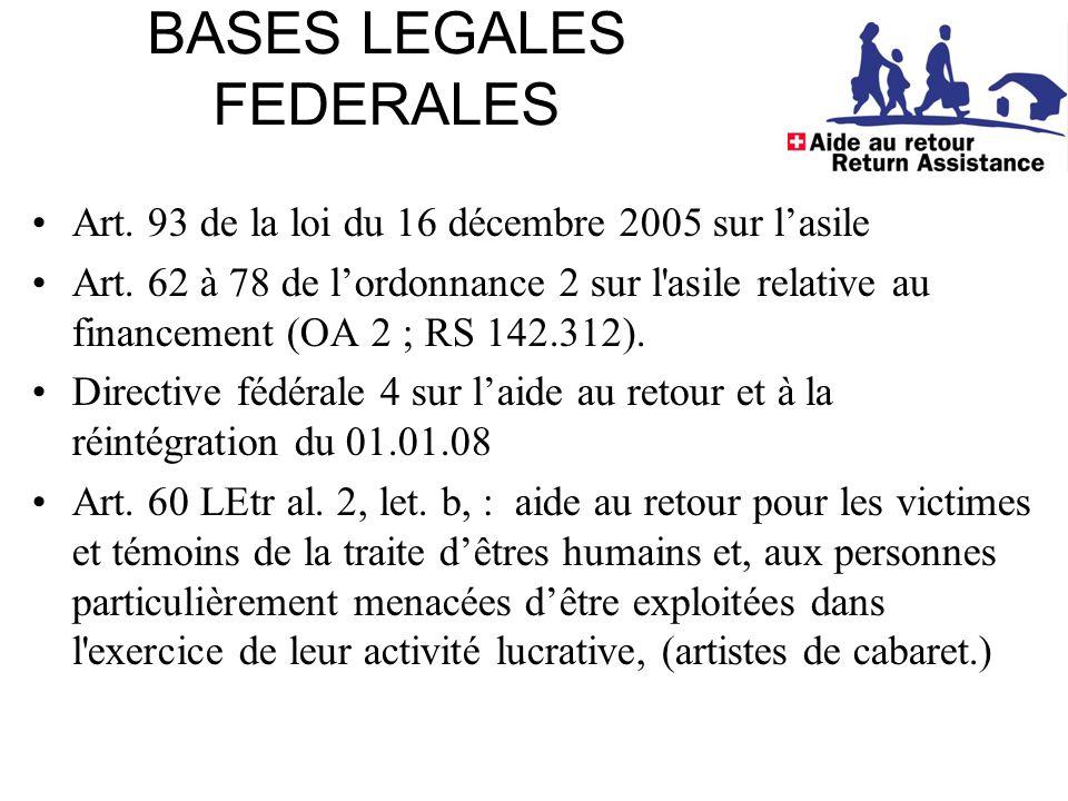 BASES LEGALES FEDERALES Art. 93 de la loi du 16 décembre 2005 sur l'asile Art.