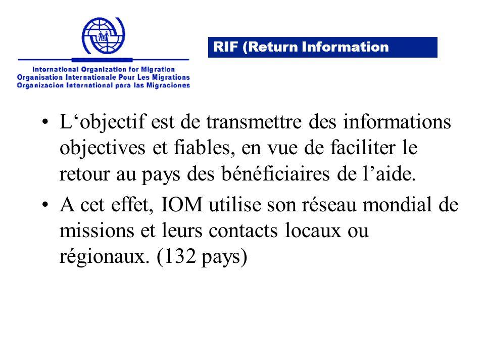 L'objectif est de transmettre des informations objectives et fiables, en vue de faciliter le retour au pays des bénéficiaires de l'aide.
