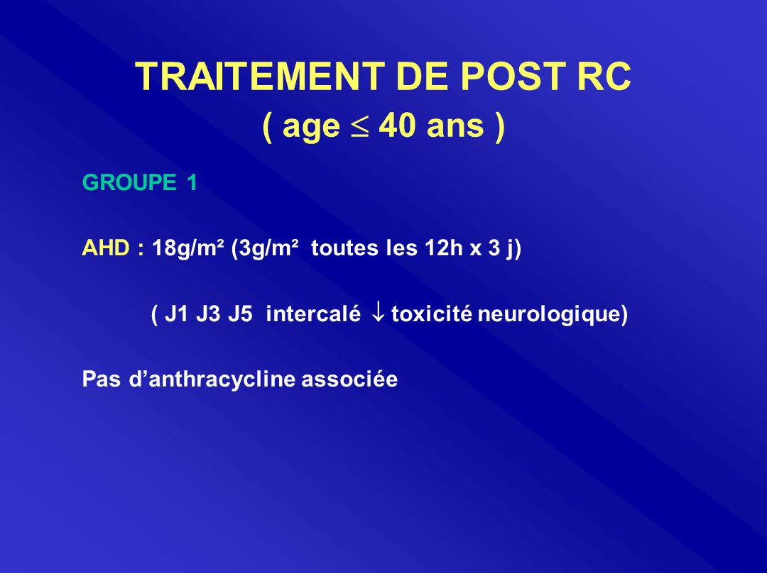 TRAITEMENT DE POST RC ( age  40 ans ) GROUPE 1 AHD : 18g/m² (3g/m² toutes les 12h x 3 j) ( J1 J3 J5 intercalé  toxicité neurologique) Pas d'anthracy