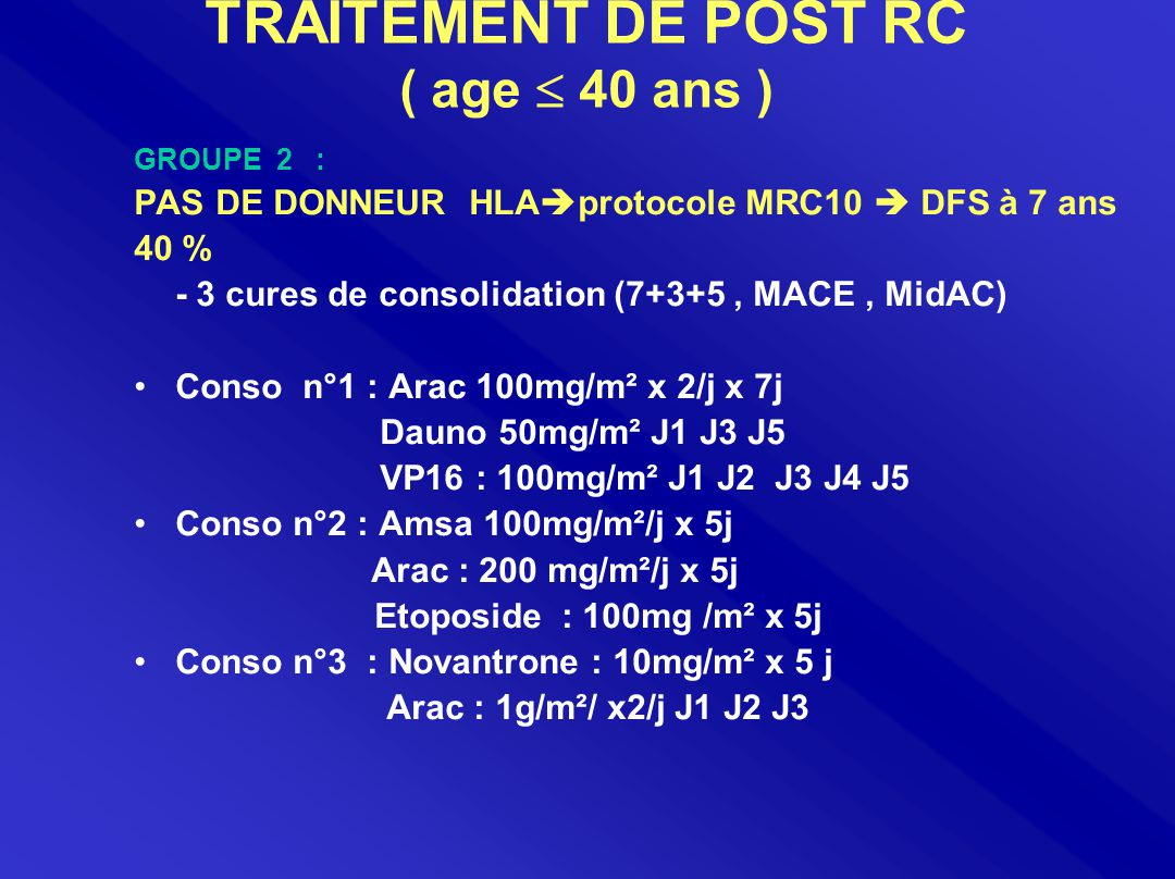 TRAITEMENT DE POST RC ( age  40 ans ) GROUPE 2 : PAS DE DONNEUR HLA  protocole MRC10  DFS à 7 ans 40 % - 3 cures de consolidation (7+3+5, MACE, MidAC) Conso n°1 : Arac 100mg/m² x 2/j x 7j Dauno 50mg/m² J1 J3 J5 VP16 : 100mg/m² J1 J2 J3 J4 J5 Conso n°2 : Amsa 100mg/m²/j x 5j Arac : 200 mg/m²/j x 5j Etoposide : 100mg /m² x 5j Conso n°3 : Novantrone : 10mg/m² x 5 j Arac : 1g/m²/ x2/j J1 J2 J3