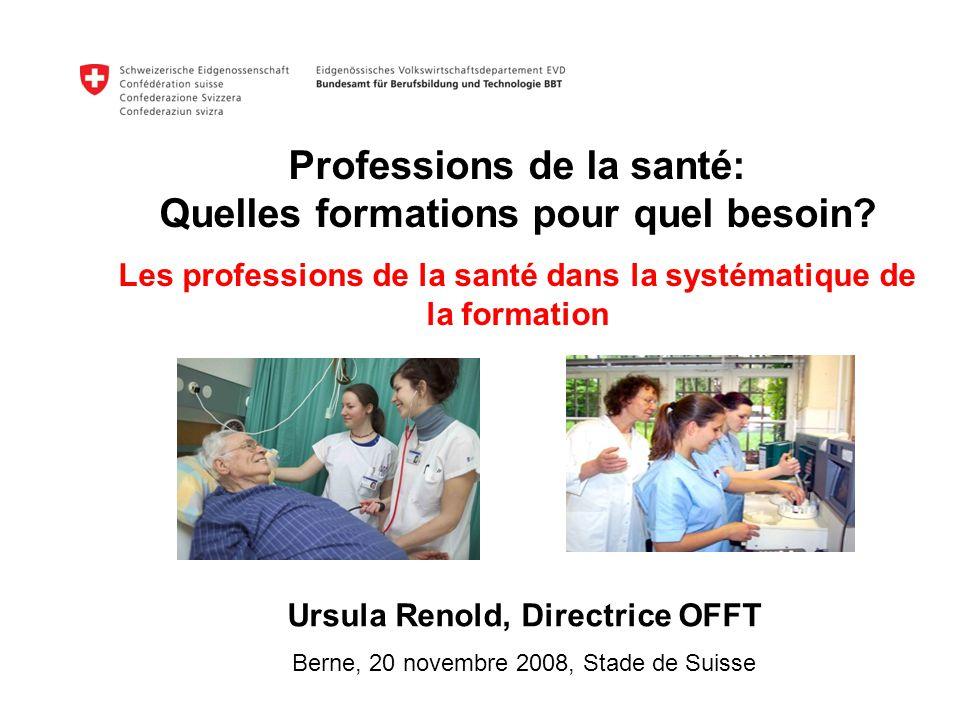 Professions de la santé: Quelles formations pour quel besoin? Les professions de la santé dans la systématique de la formation Ursula Renold, Directri