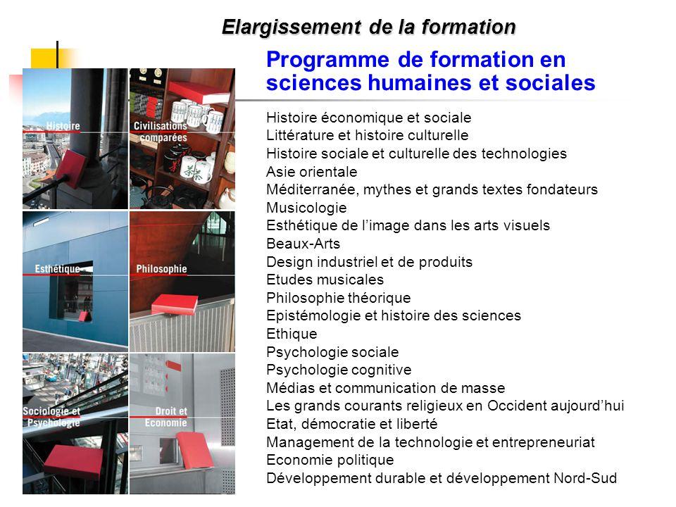 Elargissement de la formation Programme de formation en sciences humaines et sociales Histoire économique et sociale Littérature et histoire culturell