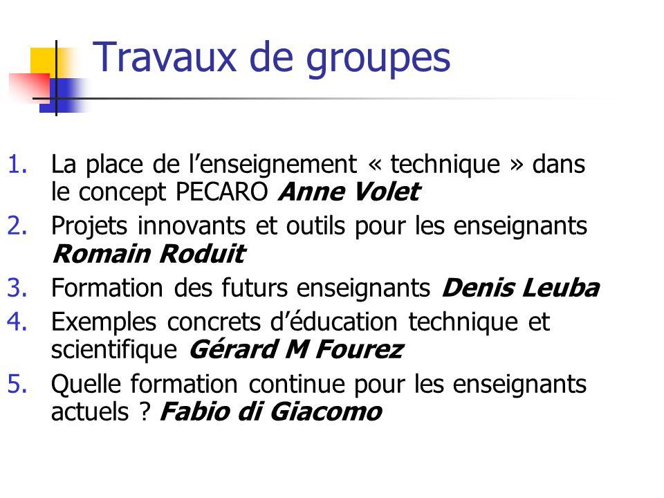 Travaux de groupes 1.La place de l'enseignement « technique » dans le concept PECARO Anne Volet 2.Projets innovants et outils pour les enseignants Rom