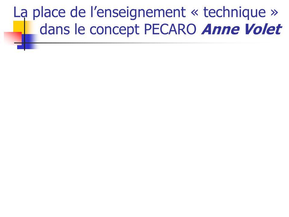 La place de l'enseignement « technique » dans le concept PECARO Anne Volet