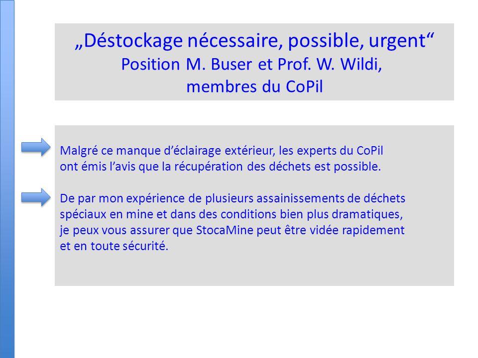 """""""Déstockage, nécessaire, possible, urgent Position M."""