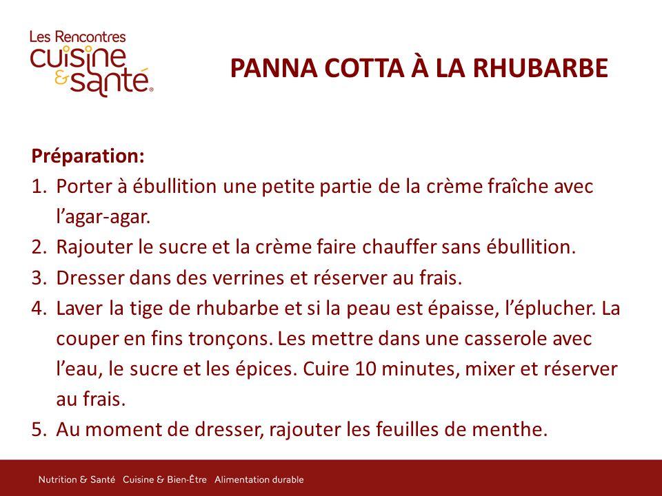 PANNA COTTA À LA RHUBARBE Préparation: 1.Porter à ébullition une petite partie de la crème fraîche avec l'agar-agar. 2.Rajouter le sucre et la crème f