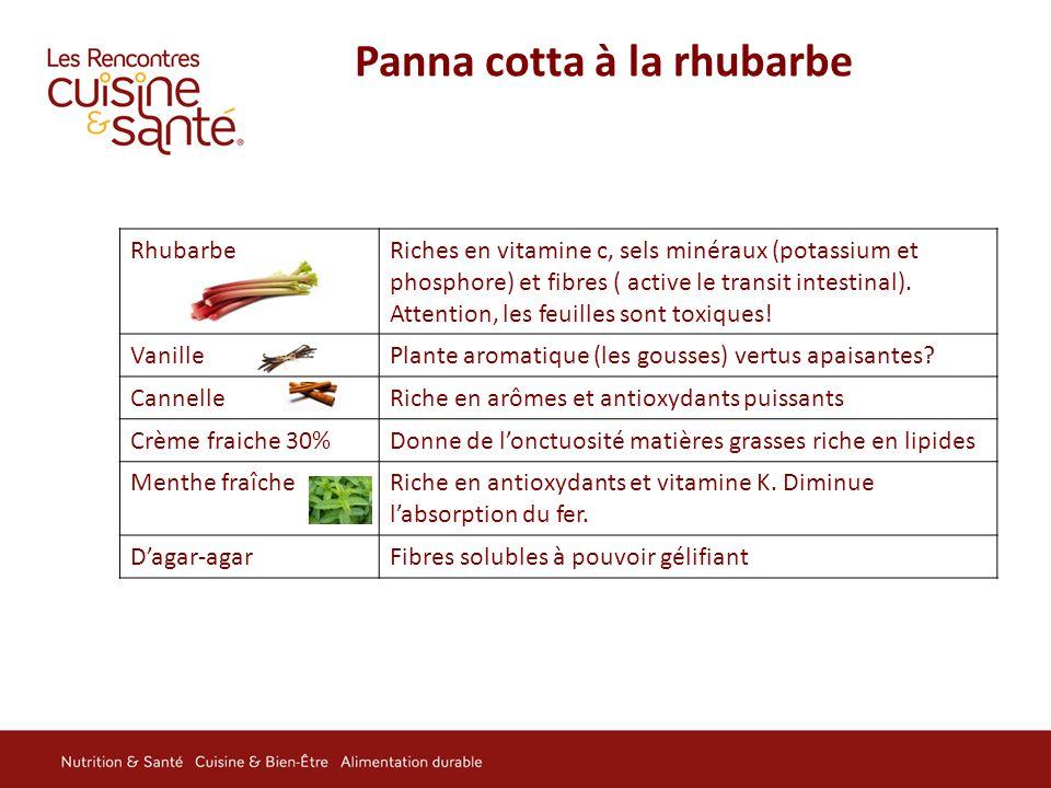 Panna cotta à la rhubarbe RhubarbeRiches en vitamine c, sels minéraux (potassium et phosphore) et fibres ( active le transit intestinal). Attention, l
