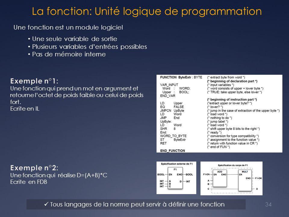 La fonction: Unité logique de programmation Une fonction est un module logiciel Une seule variable de sortie Plusieurs variables d'entrées possibles Pas de mémoire interne Tous langages de la norme peut servir à définir une fonction 34