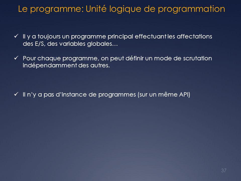 Le programme: Unité logique de programmation Il y a toujours un programme principal effectuant les affectations des E/S, des variables globales… Pour chaque programme, on peut définir un mode de scrutation indépendamment des autres.