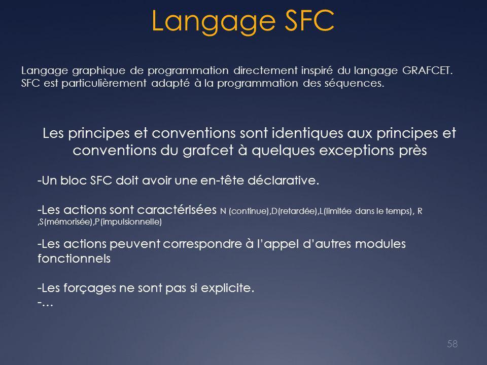 Langage SFC 58 Langage graphique de programmation directement inspiré du langage GRAFCET. SFC est particulièrement adapté à la programmation des séque