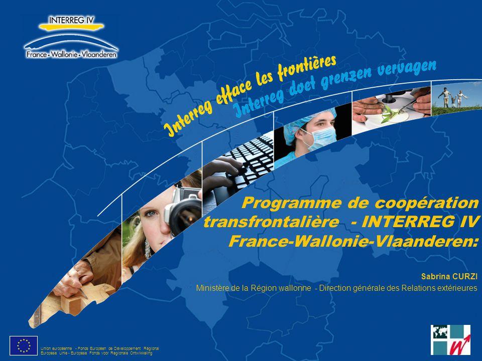 Union européenne - Fonds Européen de Développement Régional Europese Unie - Europese Fonds voor Regionale Ontwikkeling Programme de coopération transf