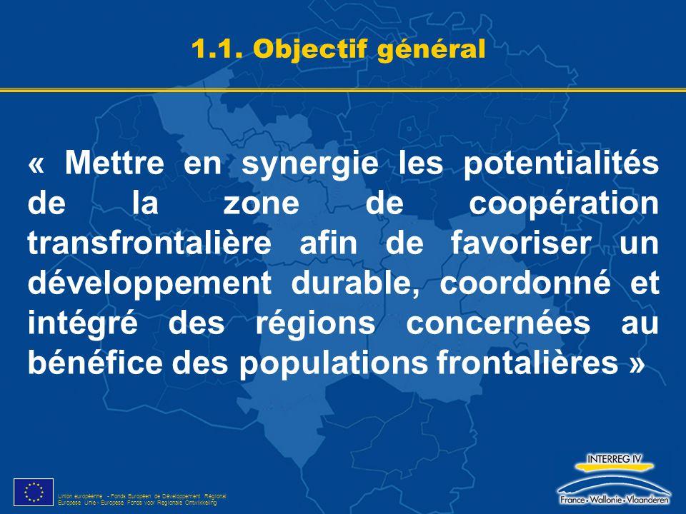 Union européenne - Fonds Européen de Développement Régional Europese Unie - Europese Fonds voor Regionale Ontwikkeling Programme territorial, multi-thématique Partenariat transfrontalier situé dans la zone Plus-value transfrontalière du projet Pérennisation des acquis d'une coopération bien développée 1.2.