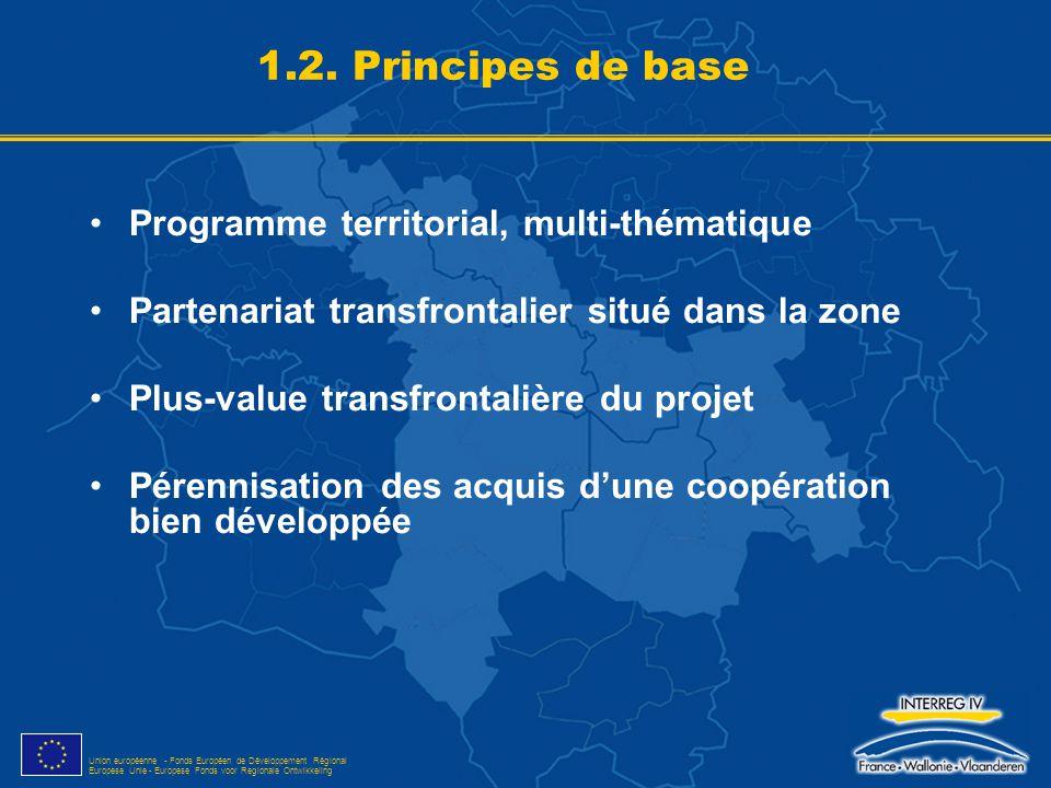 Union européenne - Fonds Européen de Développement Régional Europese Unie - Europese Fonds voor Regionale Ontwikkeling 1.3.