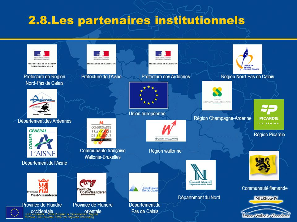 Union européenne - Fonds Européen de Développement Régional Europese Unie - Europese Fonds voor Regionale Ontwikkeling 2.8.Les partenaires institution