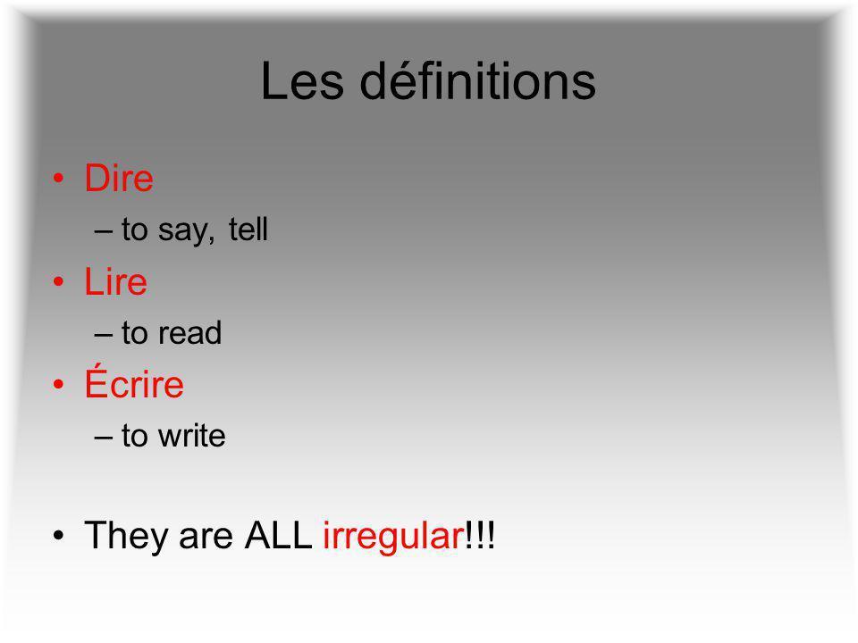 Dire = to say Je dis Tu dis Il/elle/on dit Nous disons Vous dites Ils/elles disent J'ai dit.