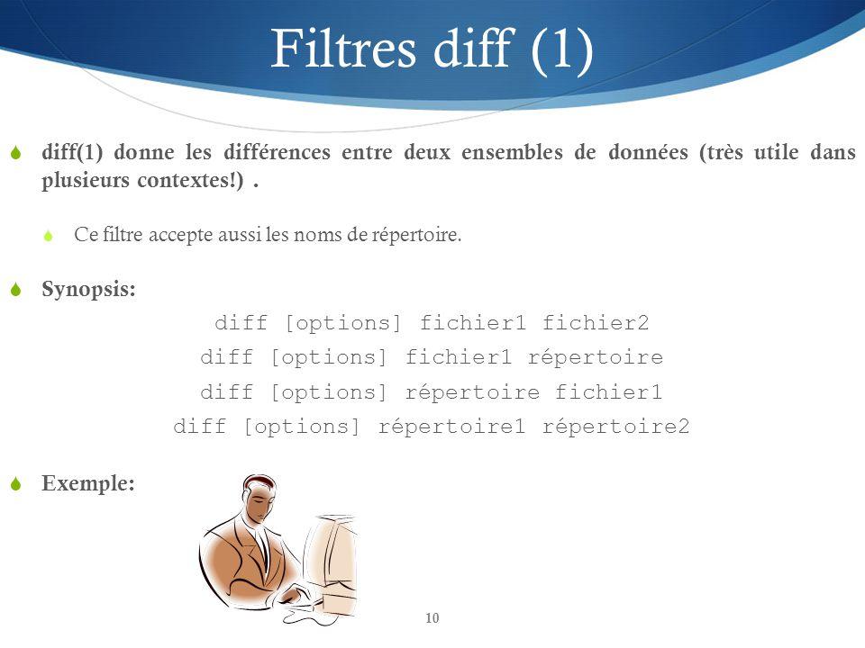 10 Filtres diff (1)  diff(1) donne les différences entre deux ensembles de données (très utile dans plusieurs contextes!).  Ce filtre accepte aussi