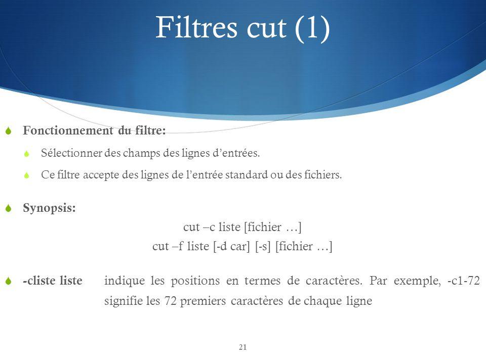 21 Filtres cut (1)  Fonctionnement du filtre:  Sélectionner des champs des lignes d'entrées.  Ce filtre accepte des lignes de l'entrée standard ou