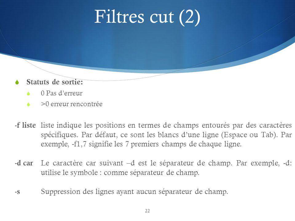 22 Filtres cut (2)  Statuts de sortie:  0 Pas d'erreur  >0 erreur rencontrée - f liste liste indique les positions en termes de champs entourés par des caractères spécifiques.