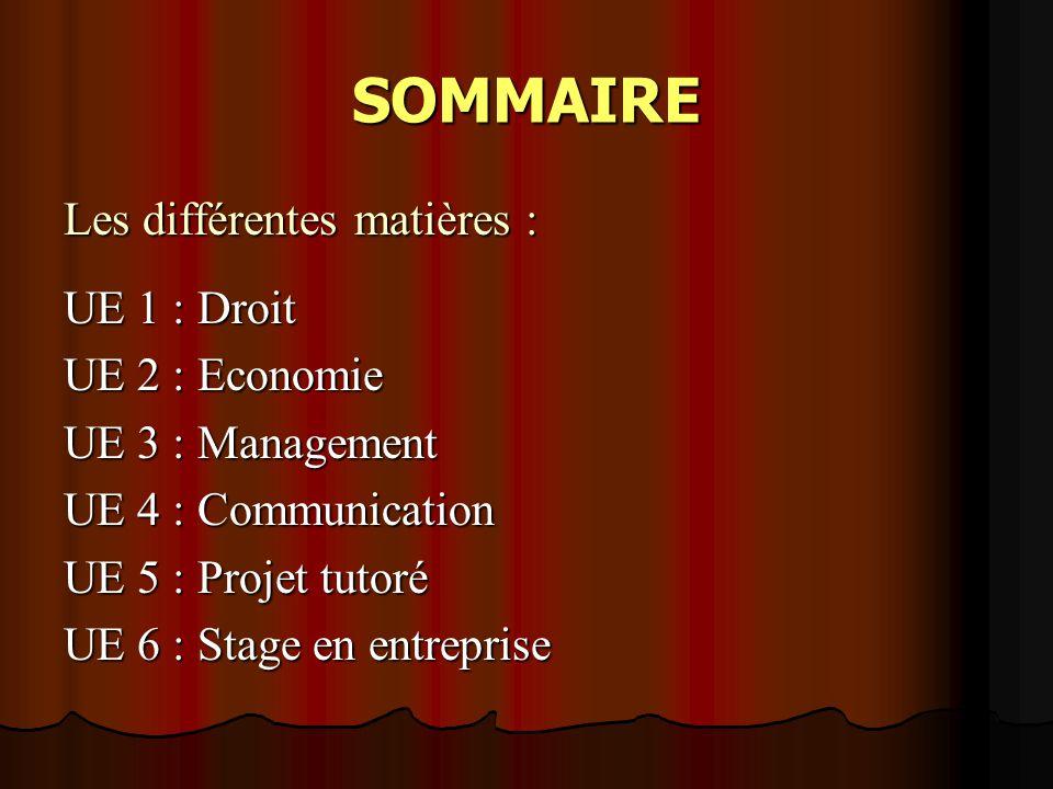 SOMMAIRE Les différentes matières : UE 1 : Droit UE 2 : Economie UE 3 : Management UE 4 : Communication UE 5 : Projet tutoré UE 6 : Stage en entreprise