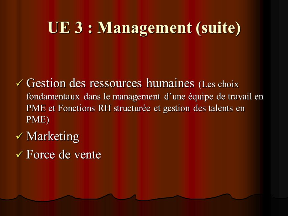  Gestion des ressources humaines (Les choix fondamentaux dans le management d'une équipe de travail en PME et Fonctions RH structurée et gestion des talents en PME) Marketing Marketing Force de vente Force de vente UE 3 : Management (suite)