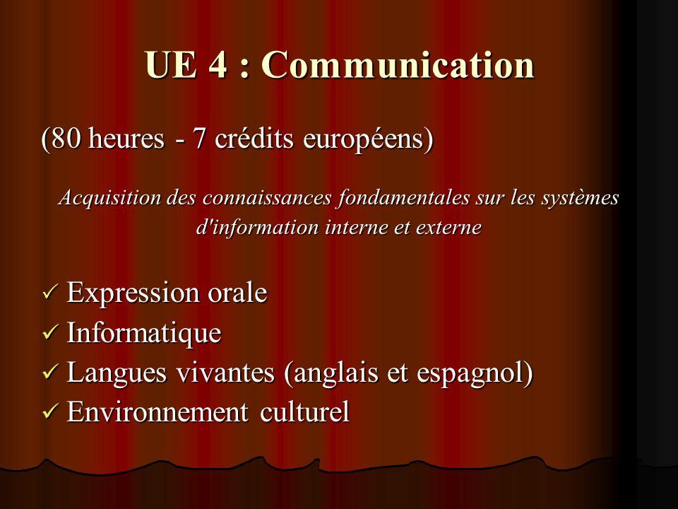 UE 4 : Communication (80 heures - 7 crédits européens) Acquisition des connaissances fondamentales sur les systèmes d information interne et externe  Expression orale Informatique Informatique Langues vivantes (anglais et espagnol) Langues vivantes (anglais et espagnol) Environnement culturel Environnement culturel