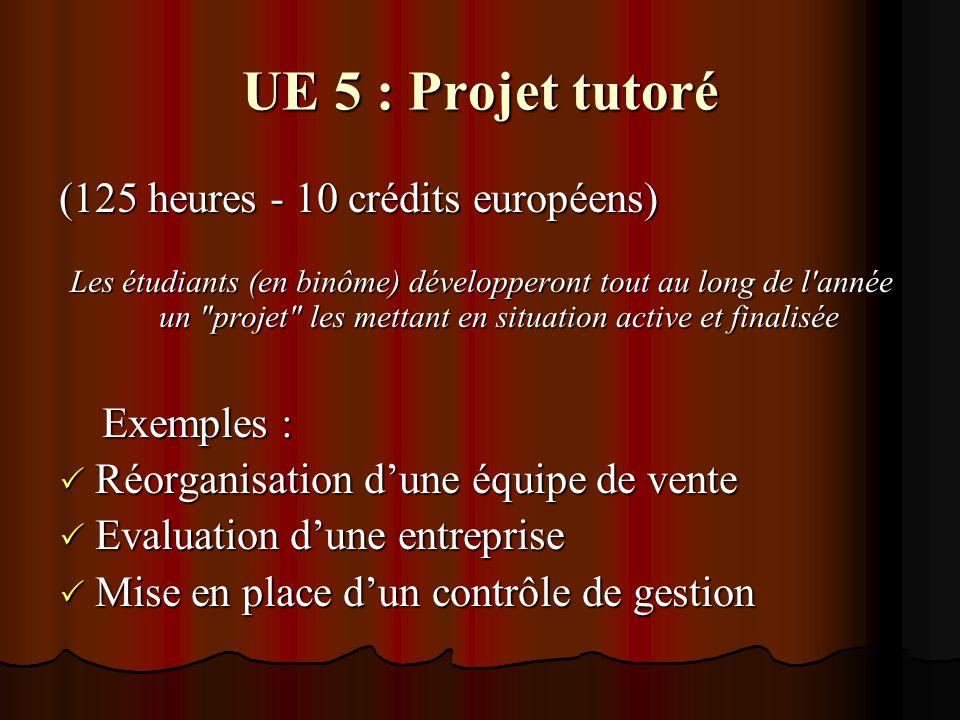 UE 6 : Rapport de stage (33 semaines - 18 crédits européens) L immersion en entreprise donnera lieu à la rédaction d un rapport écrit ayant pour sujet le traitement d une problématique réelle de gestion.