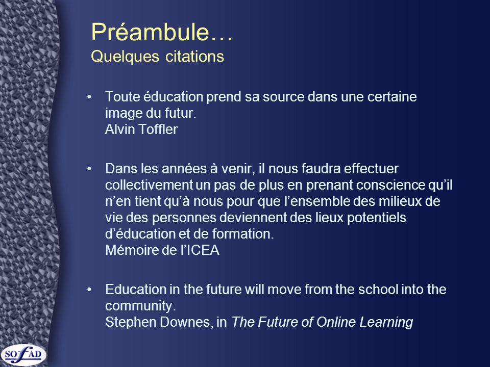 Préambule… Quelques citations Toute éducation prend sa source dans une certaine image du futur.