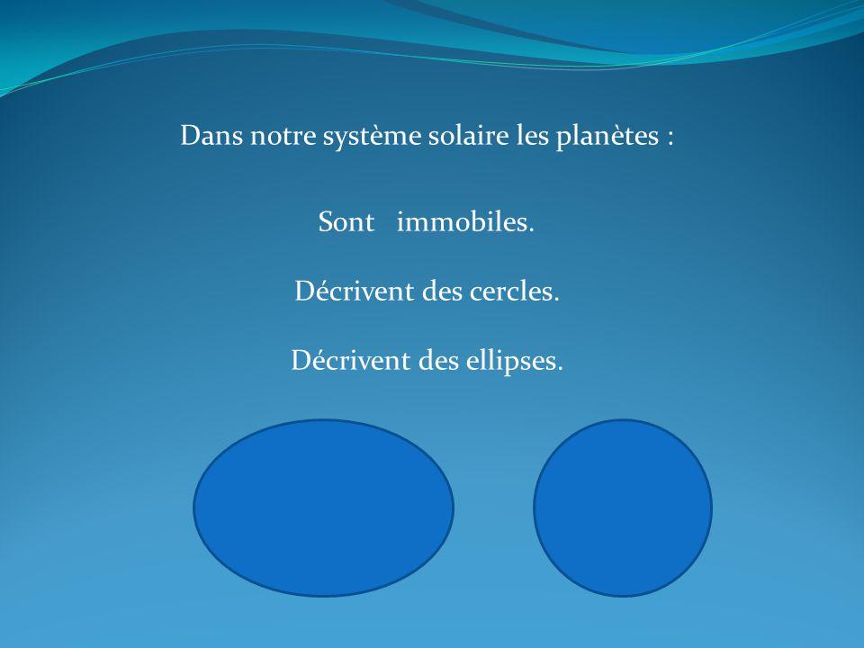 Dans notre système solaire les planètes : Sont immobiles. Décrivent des cercles. Décrivent des ellipses.