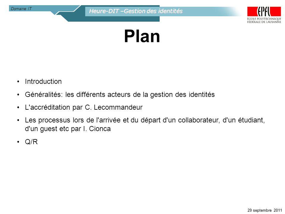 Heure-DIT –Gestion des identités 29 septembre 2011 Introduction Généralités: les différents acteurs de la gestion des identités L'accréditation par C.